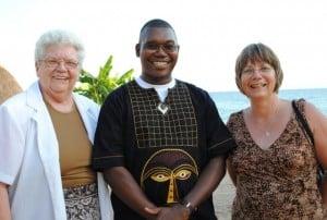 L-R: Jo Anna Royackers, Fr Paterne Mombé SJ, the AJAN Coordinator, and Jo Anna's daughter Maryann Hendrikx