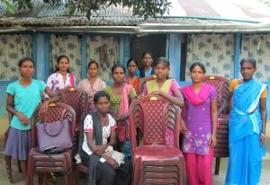Women's self-help group at Sayedabad, with chairs they rent for celebrations (photo: B. Kishor).