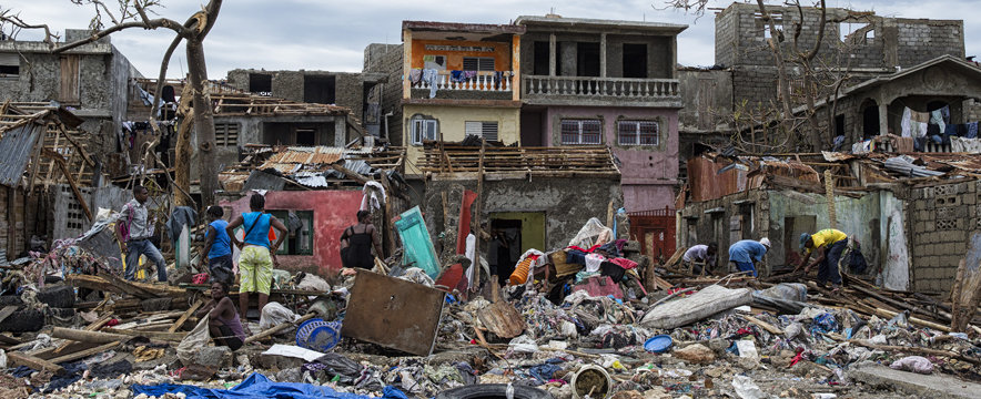 People continue to clean up in the western city of Jeremie on Thursday October 6, 2016. Hurricane Matthew passed over Haiti on Tuesday October 4, 2016, with heavy rains and winds. While the capital Port au Prince was mostly spared from the full strength of the class 4 hurricane, the western cities of Les Cayes and Jeremie received the full force sustaining wind and water damage across wide areas.  Photo Logan Abassi UN/MINUSTAH