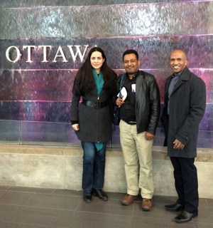In Ottawa for meetings with government officials. L to R: Miriam Lopez-Villegas, Endashaw Debrework SJ, Hasiniaina Rakotoarisoa SJ. (Photo: CJI)