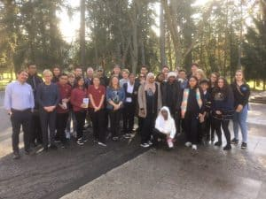 Fr Arturo with students in Ancaster, Ontario