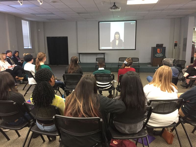 Leah Gazan speaks via Skype