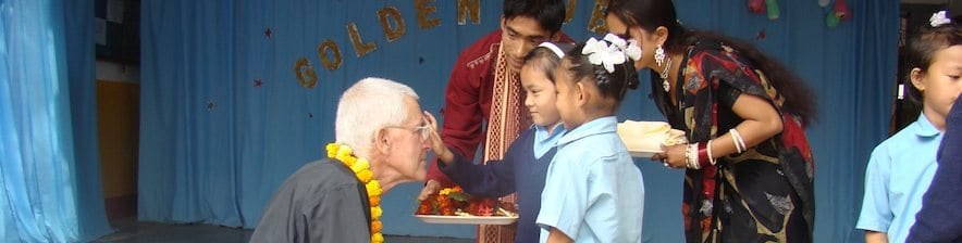Fr Bill Robins SJ at Moran Memorial School in Nepal