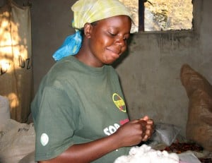 Small-scale farmers like Ms Mulenga produce much of the organic cotton grown in Zambia. Women comprise 80% of those working on these farms. (Photo: J. Cafiso/CJI)