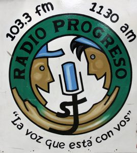"""The voice that is with you"" – Radio Progreso sign (Photo: L. Hansen SJ)"