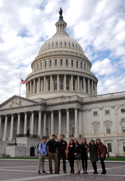 Canadian students and teachers from St Bonaventure's College outside the US Capitol. (Photo: Uju Umenyi/CJI)