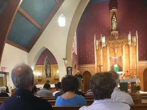Pieter Niemeyer speaking at at Our Lady of Peace