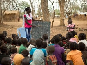 English class with South Sudanese youth