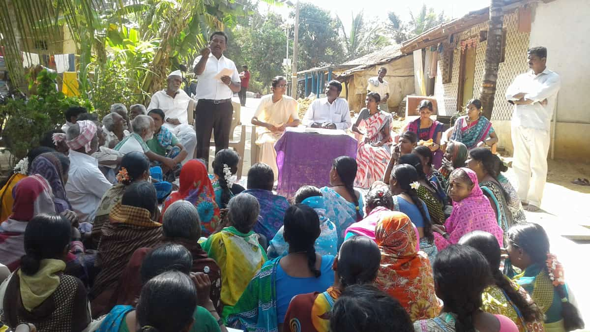 Lok Manch community awareness meeting on basic rights.