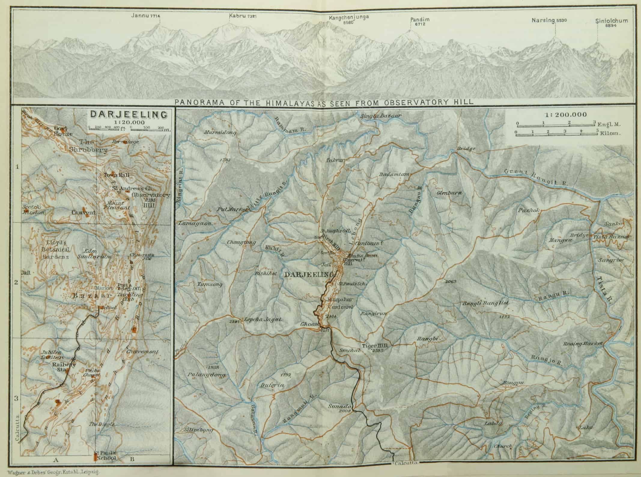 Darjeeling map circa 1914